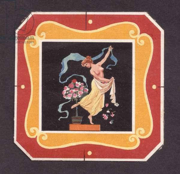 Woman dancing, 1900s (colour litho)