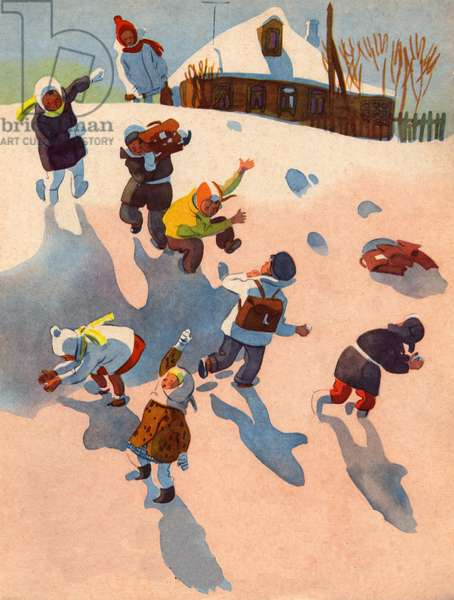 Snowball fight, 1961 (colour litho)