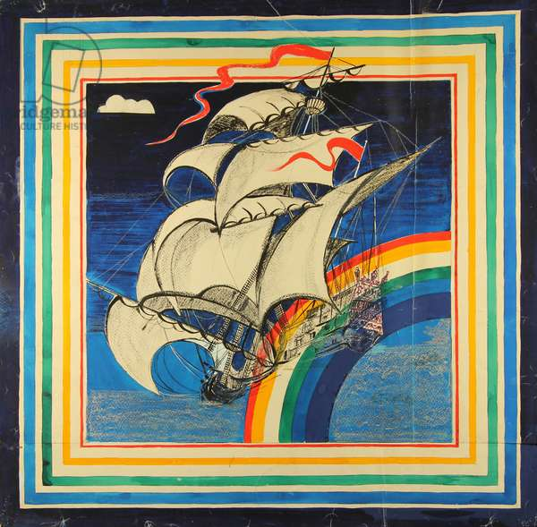 Sails. Design sketch for a scarf, 1978 (gouache on paper)