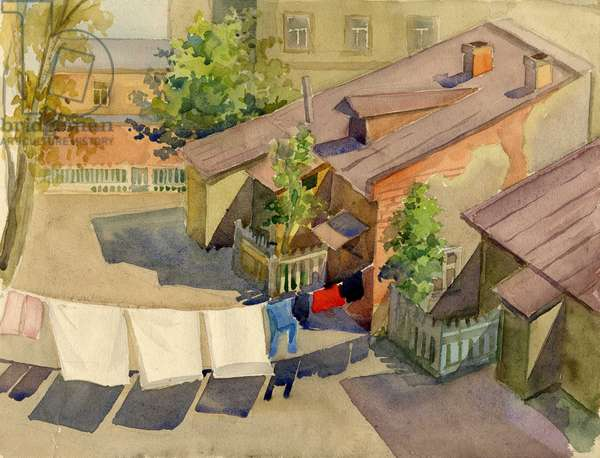 Moscow Backyard, 1949 (w/c on paper)