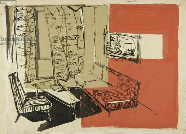 Sketch for the Interior Design of a One-Room Soviet Apartment, 1964 (tempera on paper)
