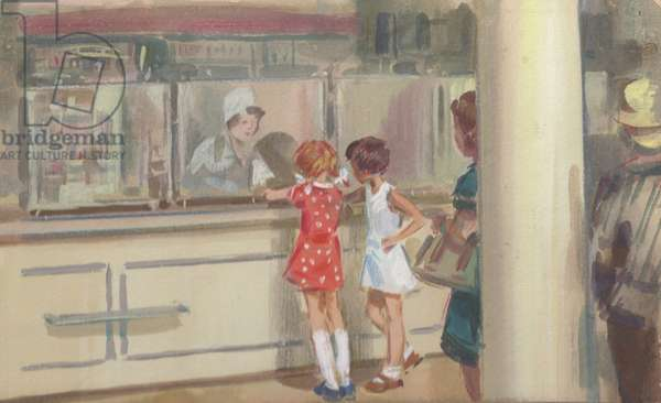 Girls at the Drugstore, 1960s (gouache on paper)