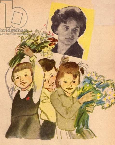 Flowers for Tereshkova, 1964 (colour litho)