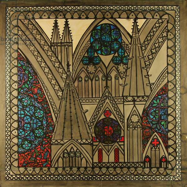 Church in Baltic Town. Design sketch for a scarf, 1979 (gouache on paper)