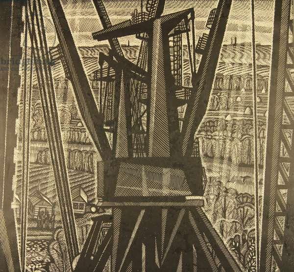 Cranes at the Construction Site, 1981 (linocut)