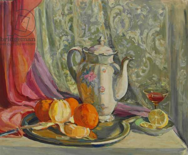 Still-life with Teapot and Oranges, 1946 (tempera on paper)