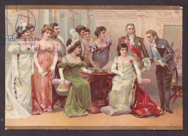 A group of ladies and gentlemen, 1900s (colour litho)