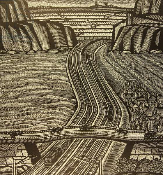 Roads by the Mine. The Gubkin Mine, 1976 (linocut)