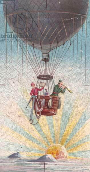 Hot air balloon, 1900s (colour litho)
