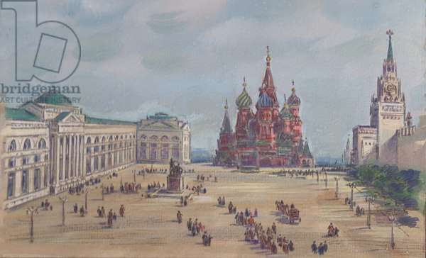 Red Square in the 19th Century, 1960s (gouache on paper)