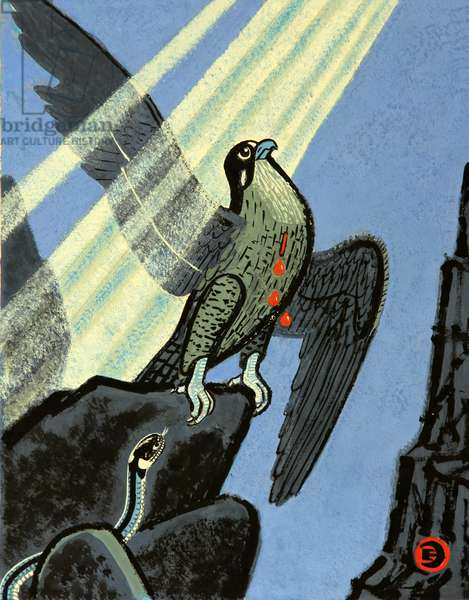 The Song About the Falcon, 1980 (gouache on paper)