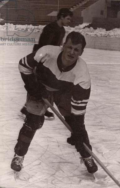 Soviet Ice Hockey Player, 1962 (b/w photo)