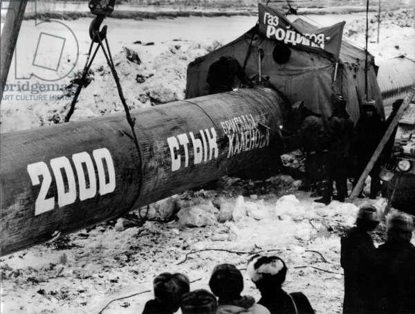 Pipe number 2000 - Kalenov's Brigade, 1984 (b/w photo)