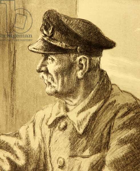 Portrait of Tow Boat Captain Bochkovsky. Port of Odessa, 1953 (lithograph)