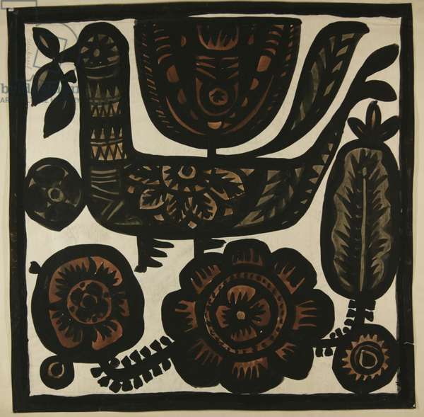 Bird textile design, c.1960 (tempera on paper)