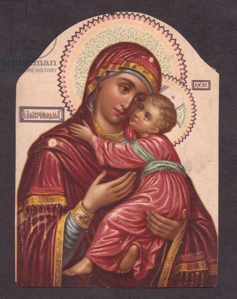 Madonna and child, 1900s (colour litho)