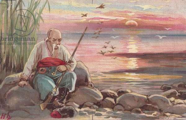 Man by the sea shore, 1900s (colour litho)
