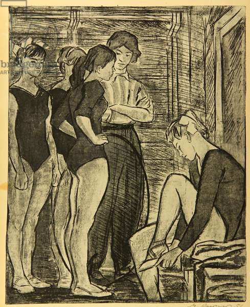 Gymnasts Before Training, 1951 (etching)