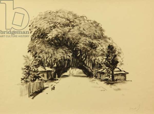 Sri Lanka Street, 1960 (tempera on paper)