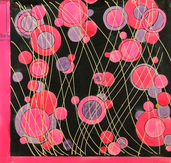 Design sketch for a scarf, 1975 (gouache on paper)