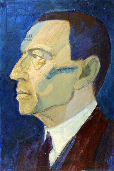 Portrait of Sergei Rakhmaninov, 1973 (oil on card)