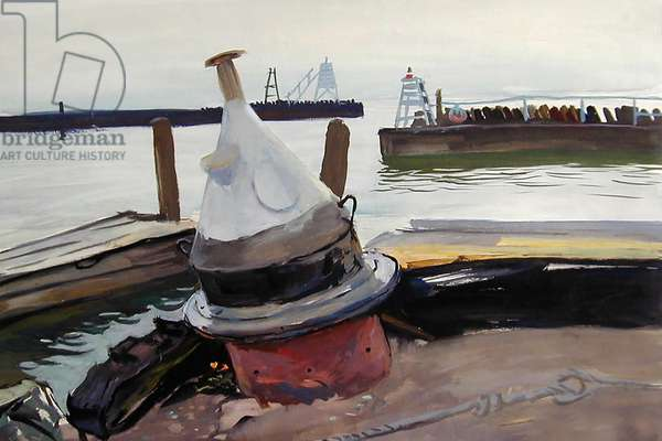 Buoy on the Berth, Lake Baikal, 1962 (tempera on paper)