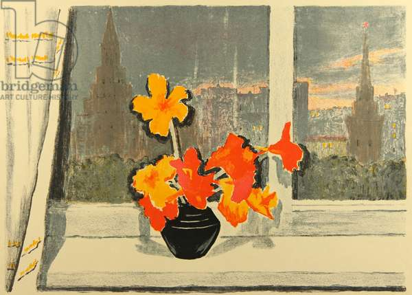 Still-life with Kremlin View, 1956 (colour litho)