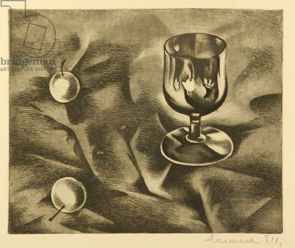 Still Life with Glass and Apples, 1970s (etching)