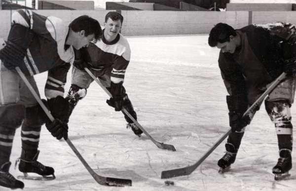 Ice Hockey training, 1962 (b/w photo)