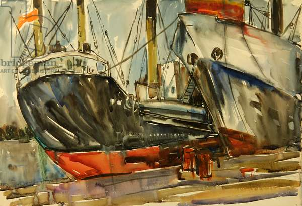 The Port in Klaipeda, Lthuania, 1974 (watercolour on paper)