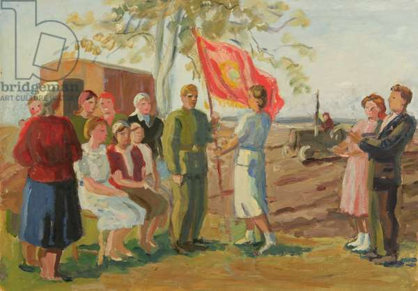 The Female Tractor Brigade is Being Awarded the Red Banner of the Central Committe of Mordova., 1942-43 (oil on paper)