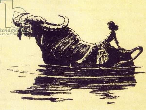 Girl Riding a Water Buffalo, 1956 (litho)