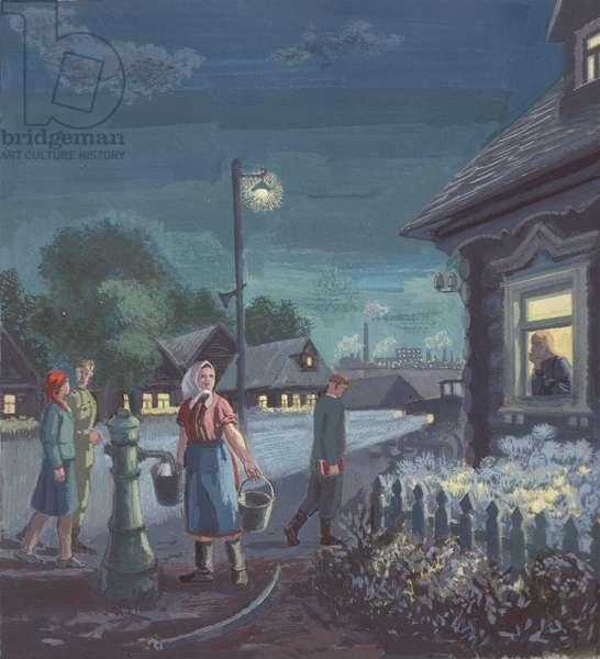 Evening in the Kolkhoz, illustration for 'Summer in the Kolkhoz', 1950s (gouache on paper)