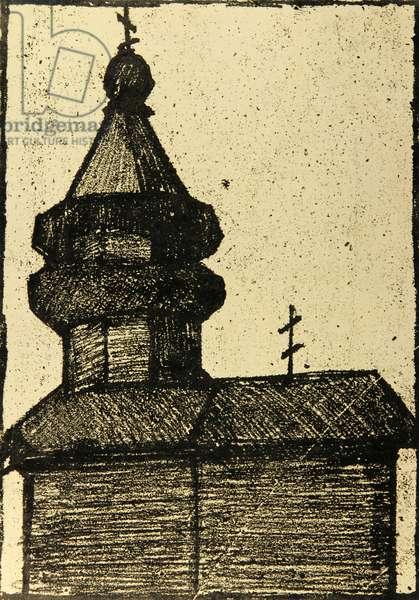 Wooden Church in Kizhi, 1970 (monotype)