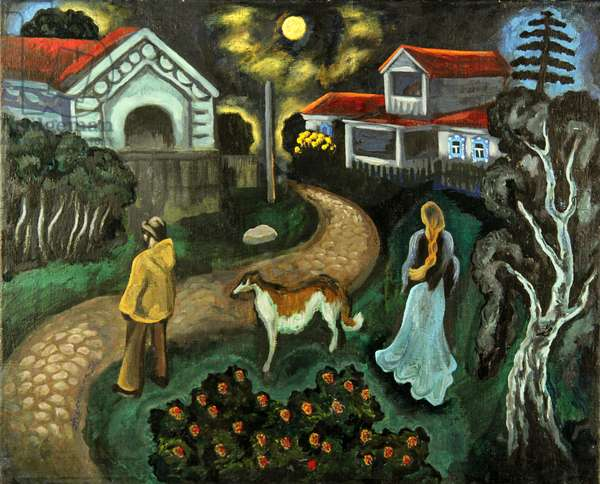 Evening Scene in the Village with Dog, 1970s (oil on canvas)