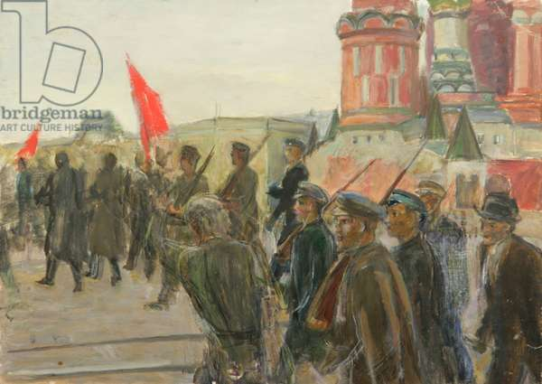 Demonstration on the Red Square, 1930s (oil on card)