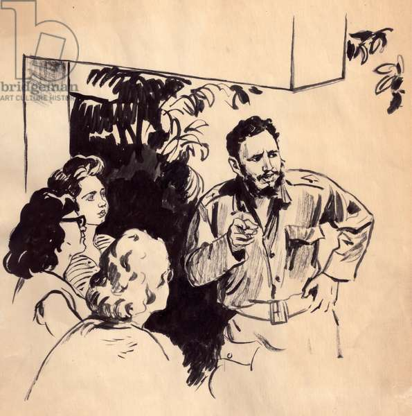Fidel Castro during a Meeting, 1962 (gouache on paper)