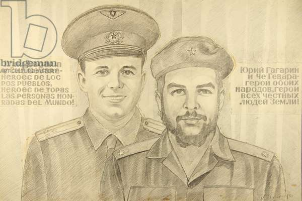 Yuri Gagarin and Che Guevara, 1984 (pencil on paper)