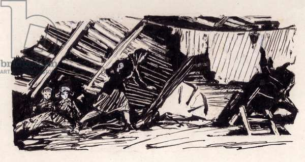 """Illustration from """"There Was Once a Widow"""" by Ikhor Muratov, 1961 (Indian ink on paper)"""