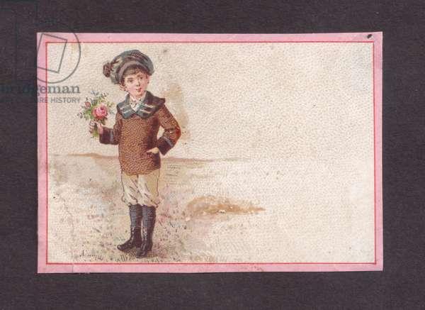 Boy holding flowers, 1900s (colour litho)