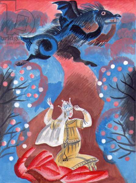 Illustration from 'The Scarlet Flower' by Sergey Aksakov, 1858, 1989 (gouache on paper)