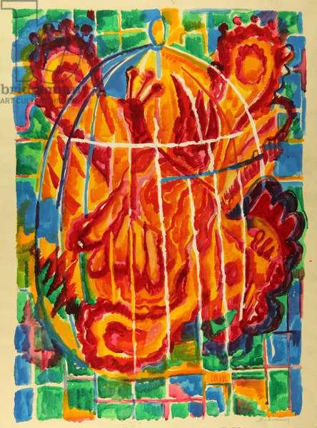 It is Not a Fire at All, It Is the Light of a Fire Bird, 1980 (tempera on paper)