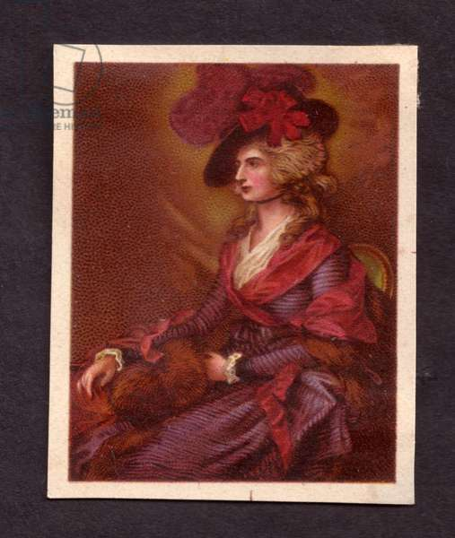 Seated woman wearing a hat, 1900s (colour litho)