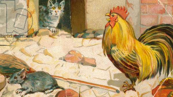Cat, mouse and cockerel, 1900s (colour litho)