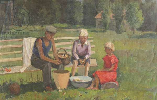 Children Cleaning Mushrooms, 1930s (oil on canvas)