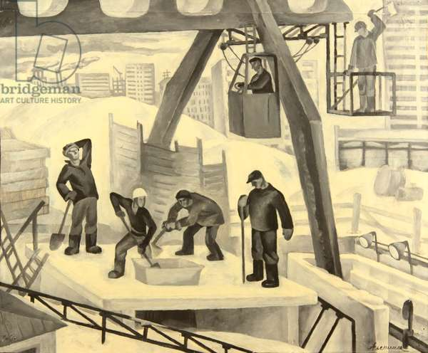 At the Construction Site, 1970s (tempera on paper)
