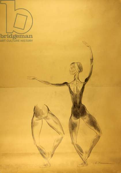 Prima Ballerina Natalia Bessmertnova, 1972 (pencil on paper)