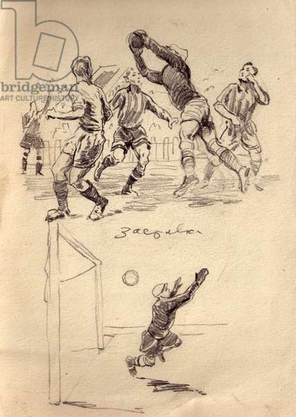 Football, 1966 (pencil on paper)