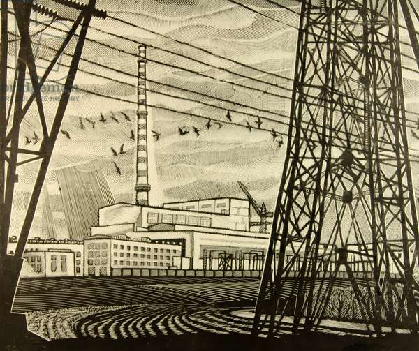 Novovoronezh Nuclear Power Plant. First Module, 1972 (linocut)