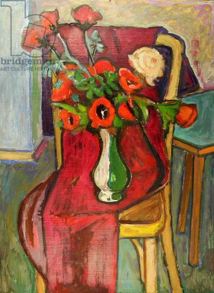 Flowers in Vase on Red Cloth, 1982 (oil on card)